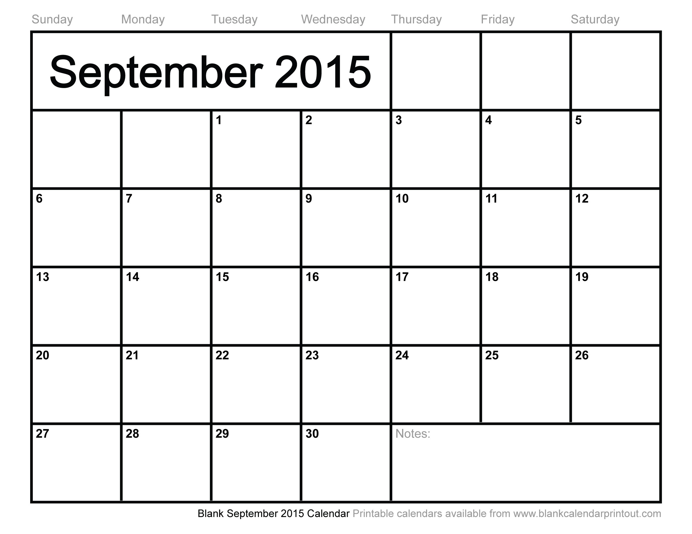 Blank September 2015 Calendar 10 Free Printable Calendar March